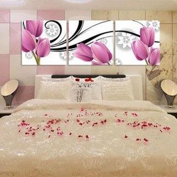 cuadros tripticos para dormitorios flores