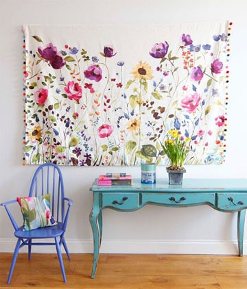 decoracion de paredes con tela con flores