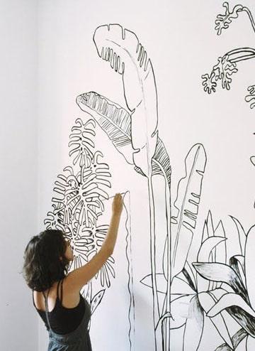 dibujos en la pared de habitacion a mano