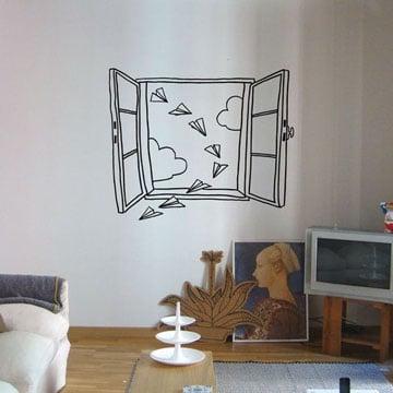 dibujos en la pared de habitacion ventana