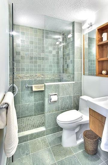 diseños para baños pequeños verde