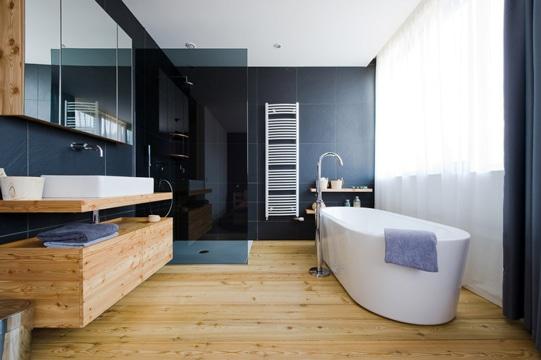 modelos de baños modernos 2016 con madera