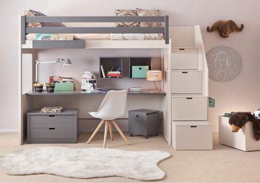 camas con escritorio debajo color neutro