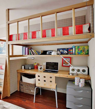 camas con escritorio debajo de madera