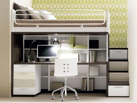 camas con escritorio debajo moderno