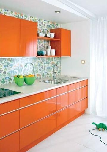 colores para cocinas modernas naranja