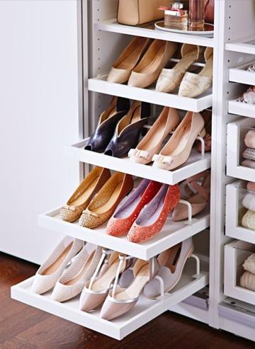 como ordenar los zapatos en gavetas