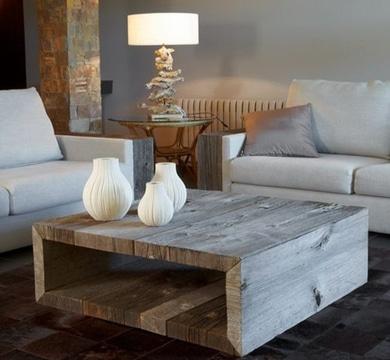 mesas de madera reciclada para sala