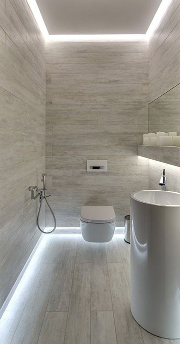 Descubre los nuevos pisos para ba os modernos como for Banos modernos oscuros