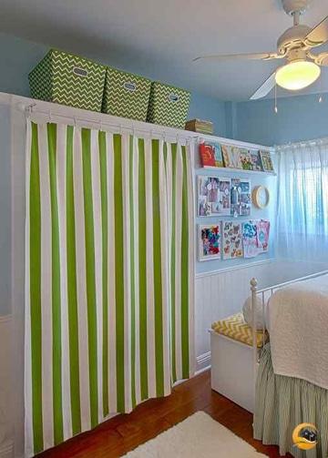 Descubre modelos de cortinas para closets sin puertas for Cortinas para puertas de armarios