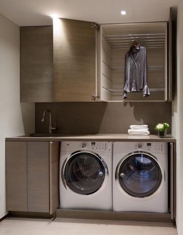 cuartos de lavado modernos con madera