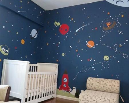 dibujos en pared de habitacion del espacio