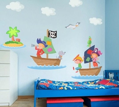 dibujos en pared de habitacion para niños
