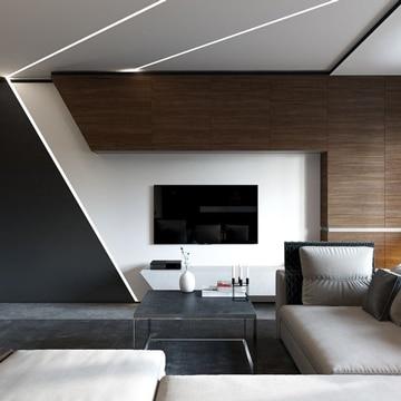 muebles para sala modernos con luces