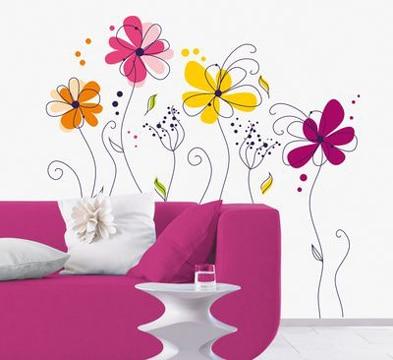Usa estas paredes decoradas con flores para adornar tu casa - Paredes decoradas con vinilos ...
