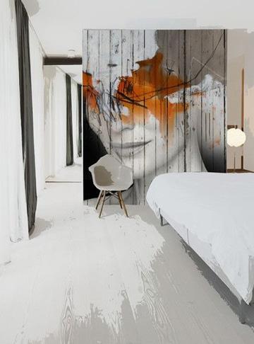 paredes decoradas con madera mural artistico