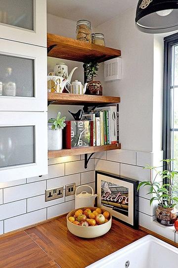 repisas de madera para cocina pequeña