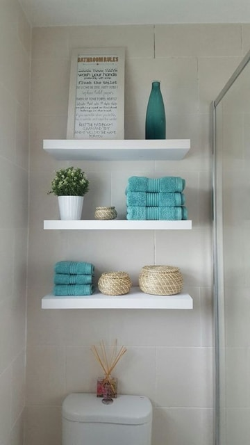 repisas para baños pequeños blanco