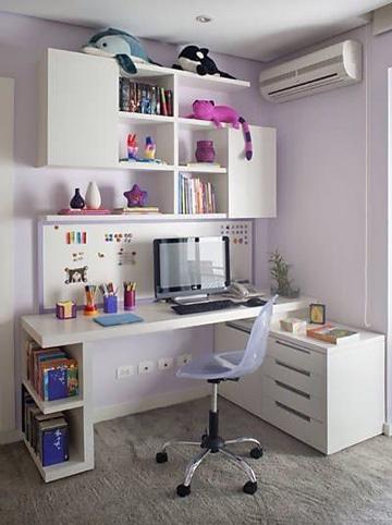 decoracion de estudios pequeños para niña