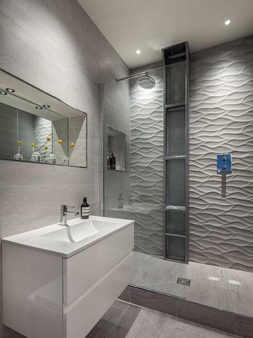decoracion para baños modernos con textura