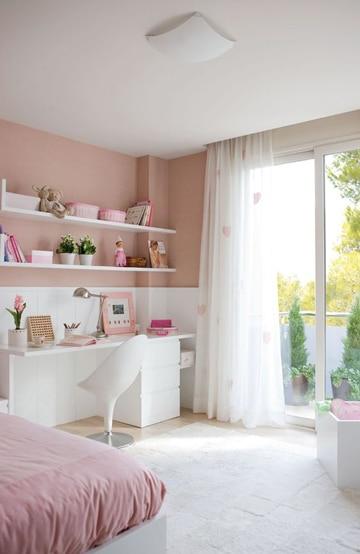 dormitorios rosa y blanco juveniles