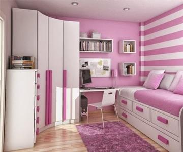 dormitorios rosa y blanco modernas