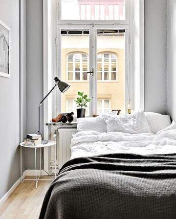 habitaciones blancas y grises pequeñas