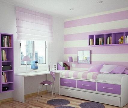 habitaciones color lila modernas