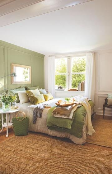 habitaciones color verde y blanco