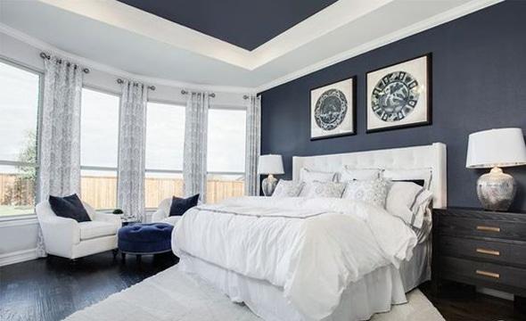 habitaciones pintadas de azul y blanco