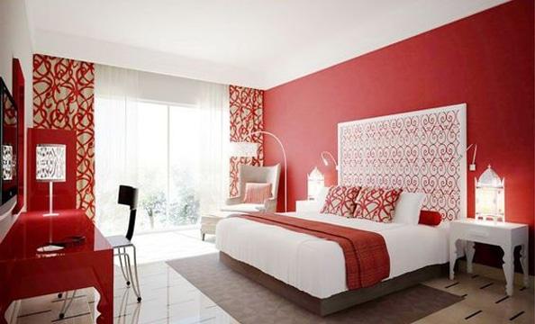 Estas habitaciones pintadas de rojo te sorprender n como for Habitaciones pintadas en gris azulado