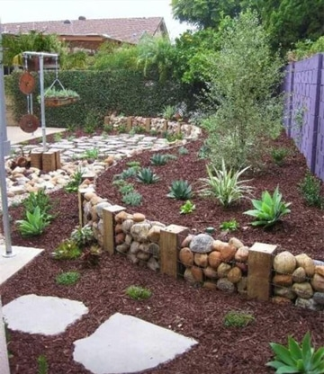 jardines con piedras y troncos ideas sencillas