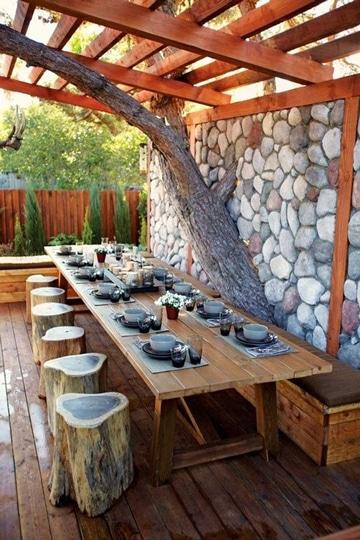 jardines con piedras y troncos muy originales
