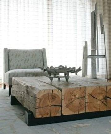 mesas rusticas de troncos naturales