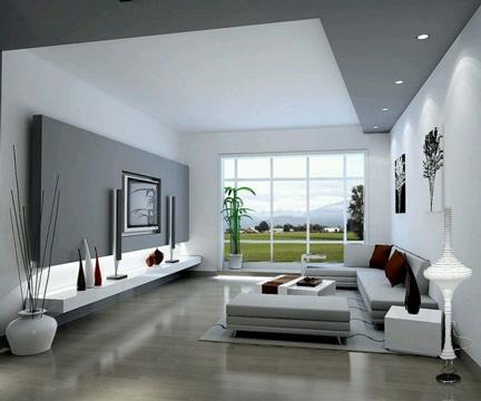 salas minimalistas pequeñas blanco gris