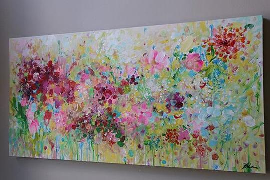 cuadros abstractos de flores de colores