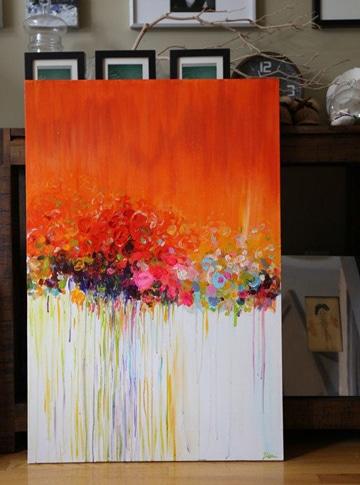 cuadros abstractos de flores para decorar