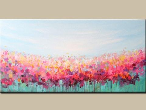 cuadros abstractos de flores rectangulares
