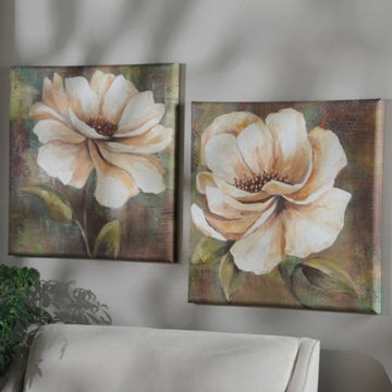 cuadros de flores blancas estilo vintage