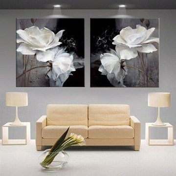 cuadros de flores blancas sala moderna