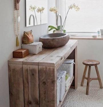 muebles de madera reciclada para baños
