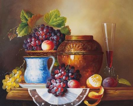 pinturas al oleo de frutas con envases