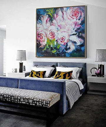 pinturas modernas al oleo en habitacion