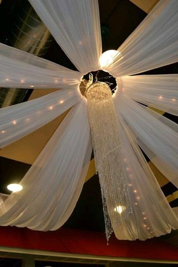 adornos para salon de boda con telas