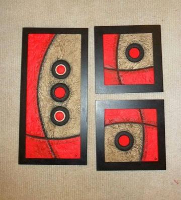 cuadros abstractos tripticos tamaños distintos