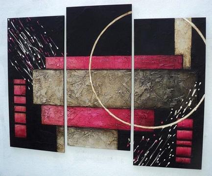 cuadros abstractos tripticos tonos oscuros