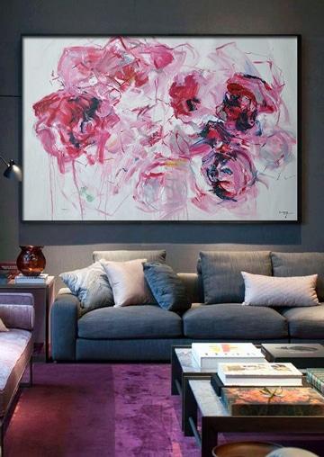 cuadros al oleo de flores grandes abstractas