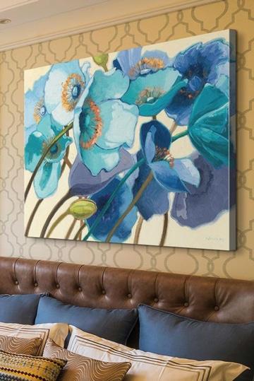 cuadros al oleo de flores grandes azules 1