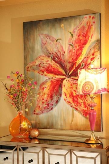 Cuadros de flores al oleo que refrescan los espacios for Cuadros verticales modernos