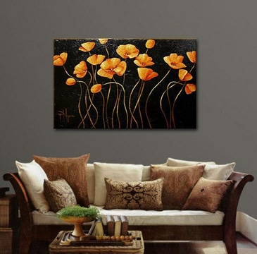 cuadros de flores al oleo para sala
